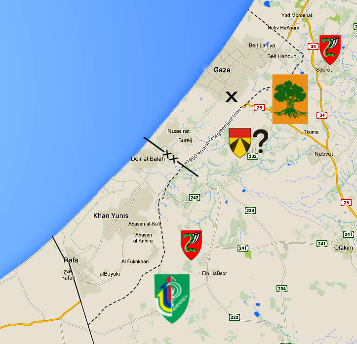 A rough sketch of my estimation of the positions of the main combat units on the frontline. From north to south: Paratroopers, Golani, 401st Armoured (?), Paratroopers, Nahal. The dividing line between the possible Ugdas is nothing more than a guess based on confirmed locations of units and studying of the map.