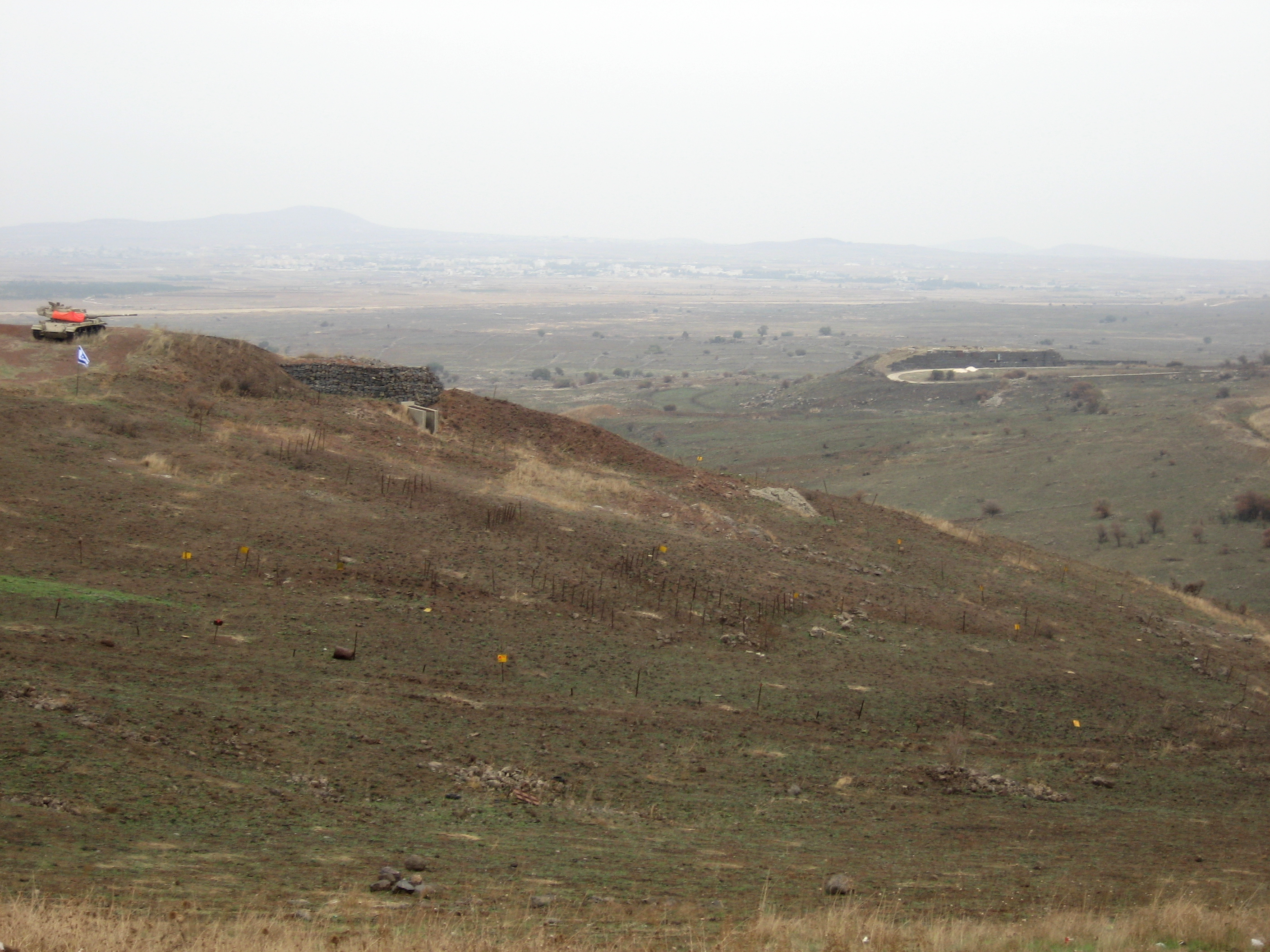 A lone IDF Centurion/Sho't stands guard over the former battlefield at the Emek HaBakha (Valley of Tears). Photo by author.