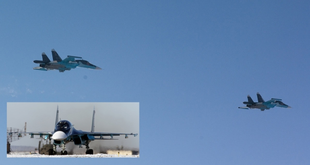 "Two Sukhoi Su-34 intercepted by Finnish QRA over the Gulf of Finland. The planes are armed with heat-seeking missiles for self-defence and light ""dumb"" bombs. Insert picture of the characteristic nose-profile with side-by-side seating of the pilot and navigator/weapons officer. Source: Puolustuvoimat (main picture) and Wikimedia Commons/Vitlay Kuzmin (insert)."