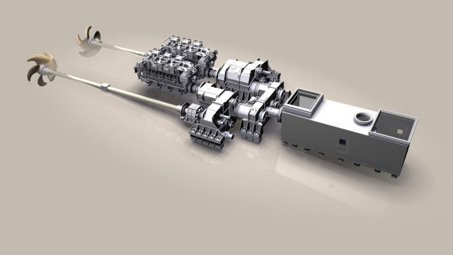 MTU-CODAG-Antriebssystem Als Systempartner entwickelt und liefert MTU auch komplette Antriebssysteme für Marine- und Behördenschiffe. Kombinierte Antriebssysteme aus Dieselmotoren und Gasturbinen (im Bild: MTU CODAG-Anlage) verbinden die Vorteile beider Antriebssysteme: Bei Langstreckenfahrten oder bei niedrigen Geschwindigkeiten laufen allein die Antriebsdiesel, während für Höchstgeschwindigkeiten die Gasturbine zugeschaltet werden kann. MTU CODAG Propulsion System As system partner, MTU also develops and delivers complete propulsion systems. Combined diesel engine and gas turbine propulsion systems combine the benefits of both propulsion systems (pictured: MTU CODAG system): for long-distance cruising or when traveling at low speed, the propulsion diesel engine only is used, whereas for high-speeds, the gas turbine can be added.